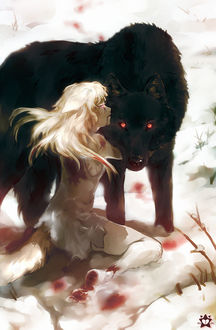 Фото Девушка с ушками и хвостом, испачканная кровью, обнимает черного волка, by E-X-P-I-E