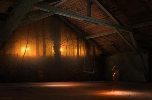 Фото Маленькая девочка стоит в комнате, смотрит на качель и открывающуюся перед ним природу, by youlakou