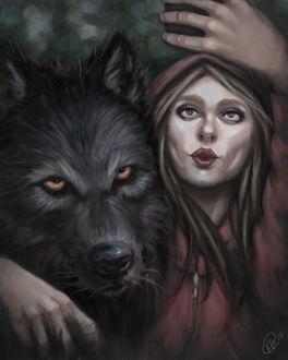 Фото Красная Шапочка и Волк делают селфи, by Khudson182