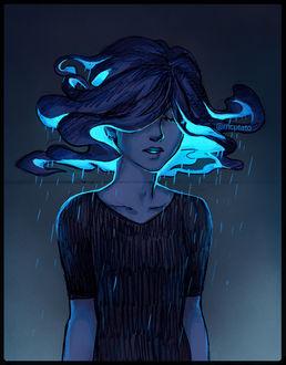 Фото Грустная девушка, из волос которой идет дождь, by mcptato