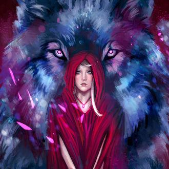 Фото Красная шапочка на фоне огромного волка, by Aeryma