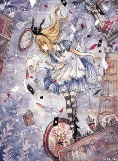 Фото Алиса с кроликом перед ней и другими летающими вокруг предметами