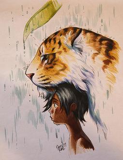 Фото Мальчик с тигром под дождем, by TamberElla