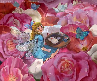 Фото Девушка с крыльями сидит на бутонах роз возле столика с чаем, тортиком и книгой, by Krisahe