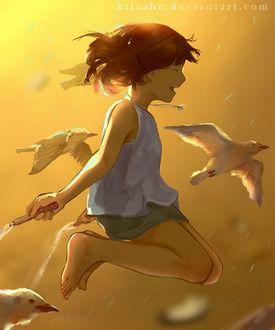 Фото Девочка весело прыгает на скакалке в окружении чаек, by Krisahe
