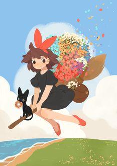 Фото Kiki / Кики и Jiji / Джиджи из аниме Kikis Delivery Service / Ведьмина служба доставки