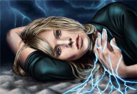 Фото Девушка с молниями на пальцах руки