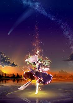 Фото Девушка на фоне сиреневого неба встречает рассвет