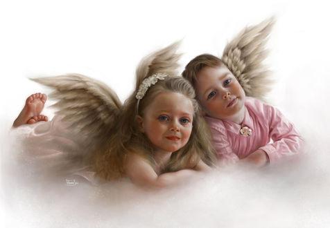 Фото Два ангелочка на облаке
