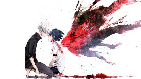 Фото Ken Kaneki / Кен Канеки и Touka Kirishima / Тока Кирисима из аниме Tokyo Ghoul / Токийский Гуль