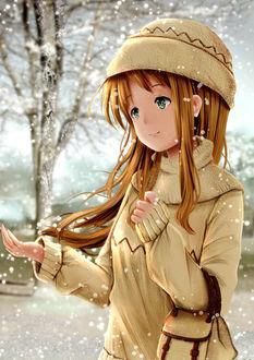 Фото Девочка ловит снег