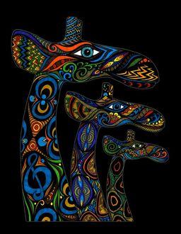 Фото Три разноцветных жирафа