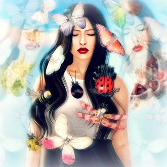 Фото Девушка в окружении бабочек и божьих коровок