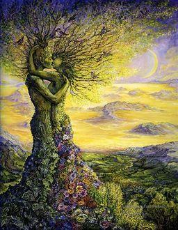 Фото Сказочные влюбленные в виде деревьев с цветами, художница Josephine Wall / Жозефина Уолл