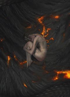 Фото Обнаженная девушка лежит на горящей земле, by Dark-Indigo