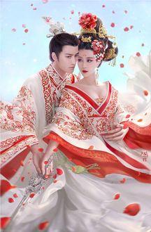 Фото Девушка и парень в белой одежде с красным и золотым орнаментом, by XZFSHAO