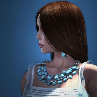 Фото Девушка в профиль с украшением на шее и ушах, by Strawberry Singh
