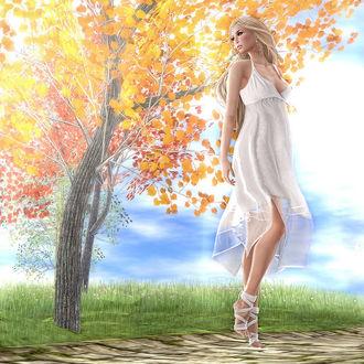 Фото Девушка в белом платье стоит у дерева, by Strawberry Singh