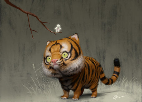 Фото Смешной тигренок смотрит на маленького полупрозрачного человечка с сердечком на ветке, by imaginism