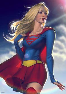 Фото Супер девушка стоит на фоне облачного неба, by lenadrofranci