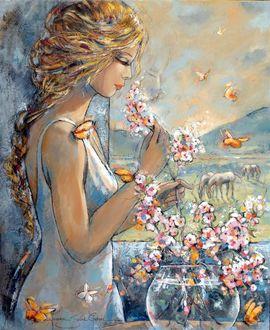 Фото Девушка с цветами в руках, французская художница Jeanne Saint Cheron
