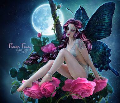 Фото Обнаженная девушка с крыльями бабочки сидит у розовых роз, by EstherPuche-Art