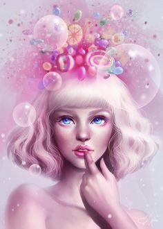 Фото Голубоглазая блондинка с конфетами над головой, by Sandramalie