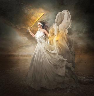 Фото Девушка с весами и мечом в руках, с повязкой на лице, by AndreeaRosse