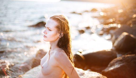 Фото Девушка с обнаженной грудью и с мокрыми волосами, стоит на фоне морского пейзажа. Фотограф Ксения Засецкая