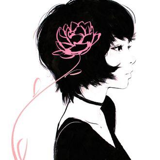 Фото Девушка в профиль с розовым цветком на ней, by Kuvshinov Ilya