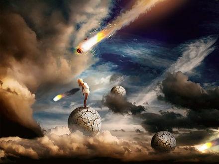 Фото Девушка стоит на потрескавшемся шаре на облаках, на фоне космоса и летящих астероидов