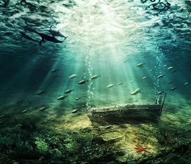 Фото Затонувшая лодка под водой