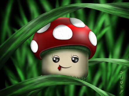 Фото Забавный гриб мухомор сидит на травинке