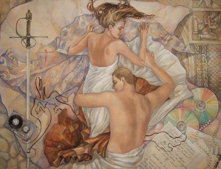 Фото Спящие влюбленные парень и девушка, by Lanevska
