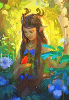 Фото Девочка-лесной дух, на руке у которой сидит птица, by Sylar113