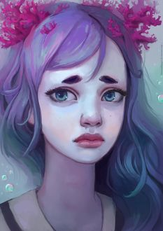 Фото Девушка с водорослями в волосах под водой, by thirteenthangel