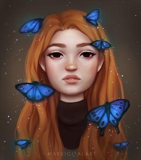 Фото У девушки на волосах сидят синие бабочки, by Mardigitalart