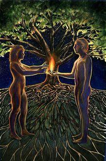 Фото Адам и Ева рядом с древом познания