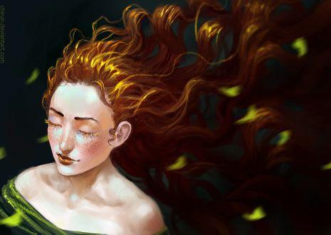 Фото Девушка с длинными волосами в окружении зеленых листьев, by Chirun