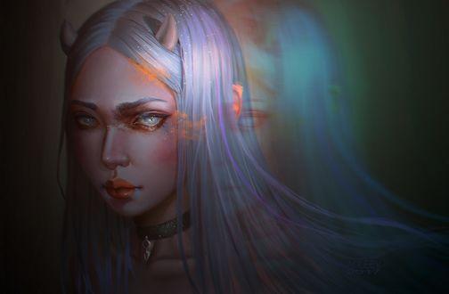 Фото Белокурая девушка-демон, by Aoleev