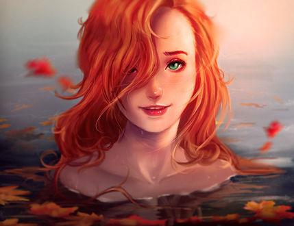 Фото Рыжеволосая девушка с зелеными глазами в воде среди осенних листьев, by HashTag13