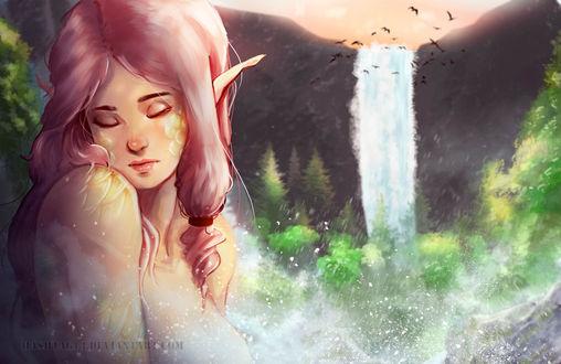 Фото Эльфийка с розовыми волосами на фоне водопада, by HashTag13
