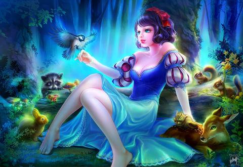 Фото Белоснежка / Snow White с животными из сказки Snow White and the Seven Dwarfs / Белоснежка и семь гномов, by Shawli2007