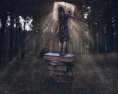 Фото Девушка стоит на стопке книг к нам спиной на размытом фоне леса. Фотограф Вика Бежан