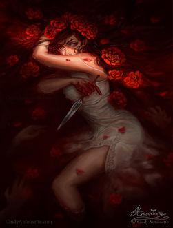Фото Девушка лежит в розах кровавого цвета, by Amourinette