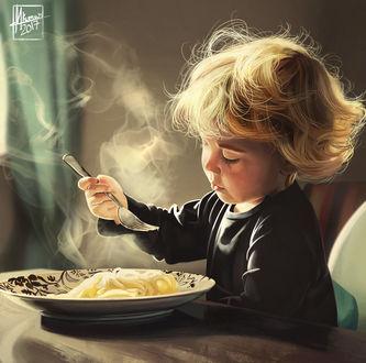 Фото Ребенок кушает, сидя за столом, by Mayank94214