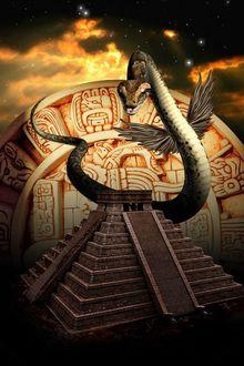 Фото Змей с крыльями над Египетской пирамидой, by amiens