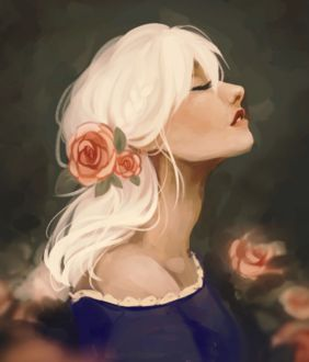 Фото Белокурая девушка с розами в волосах, by R0BUTT