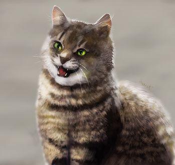 Фото Пушистая кошка с зелеными глазами, by HavickArt (© Arinka jini), добавлено: 19.03.2017 02:57