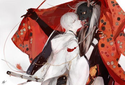 Фото Тsurumaru Кuninaga / Цурумару Кунинага рядом с демоном в черной маске из игры Touken Ranbu / Танец мечей (© Romi), добавлено: 19.03.2017 09:03